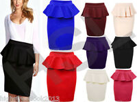 New Womens Ladies Peplum Frill Pencil Bodycon Knee Length Colour Skirt Size 8-14