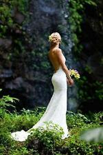 Lace Mermaid Backless Sexy Wedding Dress Beach Bridal Gown Size 6 8 10 12 14 16+