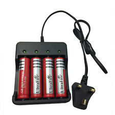 4X 18650 6800mAh Batteries 3.7V Li-ion Rechargeable Battery+4.2V UK Charger