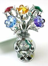 CRYSTOCRAFT Ornament Freestanding Swarovski Crystal Glass Tulips in Crystal Vase