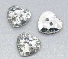 30 SILVER BACKED ACRYLIC HEART BUTTONS 12mm Sewing~embellishment~knitting(11J)UK