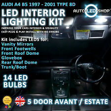 AUDI A4 B5 AVANT 94-01 LED INTERIOR UPGRADE COMPLETE KIT SET BULB XENON WHITE