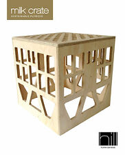 NATURAL WOODEN RUSTIC PLYWOOD MILK CRATE - stool, toy box, side table, timber