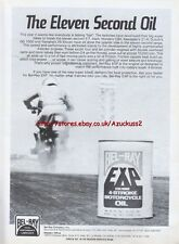 """Bel-ray Exp Motor Oil """"The Eleven Second Oil"""" Motorcycle Magazine Advert #422"""