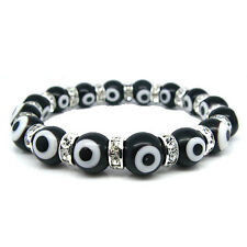 Evil Eye Murano Glass Bead Protection Bracelet in Black