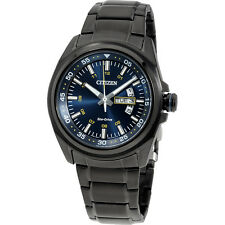Citizen Analog Blue Dial Black Stainless Steel Men's Watch AW002458L
