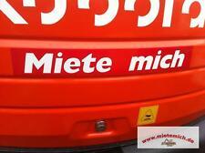 Miete mich Aufkleber 34x5cm.Rot/Weiss Mietmaschinen Anhänger Baumaschinen Bagger