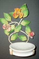 ITALIAN TOLE ROSES RARE VINTAGE HANGING SOAP DISH CHIC COTTAGE SHABBY VINTAGE