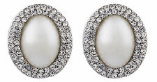 CLIP ON silver plated PEARL & CRYSTAL stud non pierced EARRINGS - Bertha S