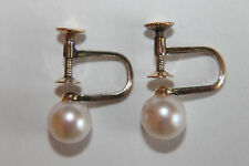 Vintage MIKIMOTO 14K Yellow Gold 7.3mm Pearl Earrings Screwback