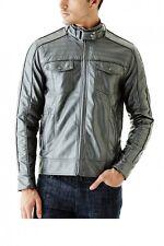 Guess Roque PU Men's Gunmetal Metallic Jacket Size M