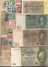 NAZI GERMANY BANKNOTE, COIN AND STAMP SET  * G *