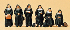 HO Preiser 10402 Six Nuns with Luggage : Figures  ( 1:87 scale )