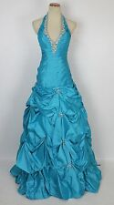 Paparazzi by Mori Lee Capri Blue $500 Size 4 Halter Ball Long Gown Prom Formal