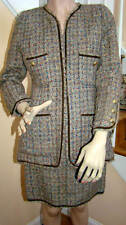 CHANEL BOUTIQUE 1990s Iconic Taupe Confetti Tweed Skirt Suit EU Size 38