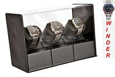 Luxury Display Carbon Fibre look Triple Automatic Watch Winder-Carbon Velvet-MP3