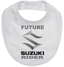 BABY BIB white cotton printed with FUTURE SUZUKI RIDER on  Baby Bib