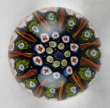 Vintage Strathearn Paperweight - Blue Green Orange Floral Motif w/ Canes - Super