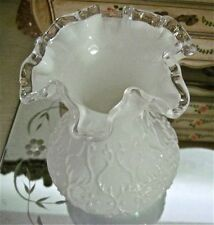 Glossy WHITE Glass w SCROLLED Design & Clear CRIMPED Edge Vintage Vase~MINT