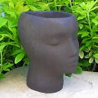 """Female PLANTER 9"""" FLOWER POT HEAD Cast Cement Brown Stain CONCRETE Garden Decor"""