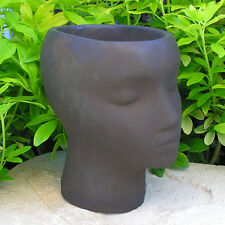 "Female PLANTER 9"" FLOWER POT HEAD Cast Cement Brown Stain CONCRETE Garden Decor"