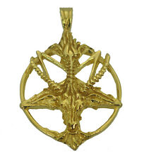 Satan Goat Baphomet occult Pentagram Devil Gold Plated Sterling silver 925 Charm