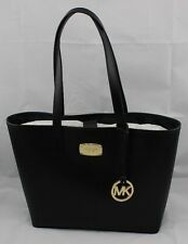 NEW AUTHENTIC MICHAEL KORS JET SET ITEM TRAVEL TOTE BLACK LEATHER PURSE HANDBAG