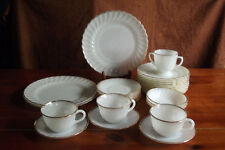 29 pc Vintage Fire-King White Swirl Gold Milk Glass Dinner Ware Anchor Hocking