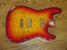 MIGHTY MITE BODY FITS FENDER STRATOCASTER 2 3/16th GUITAR NECK CHERRY QUILT TOP