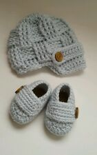 NEW Newborn Baby Boy Hat and Booties Crochet Infant Photo Prop Gift