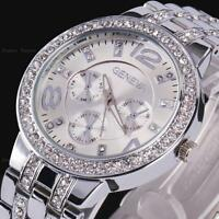 Geneva Women Lady Bling Crystal Silver Stainless Steel Analog Quartz Wrist Watch