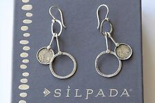 Silpada Hammered Sterling Silver Dangle Circle Geometric Dangle Earrings W1549