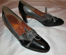 50's ROZ & SHERM two tone soft black / gray leather pin up spectators shoes 8 N