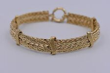 "8"" Technibond Double Row Wheat Link Bracelet 14K Yellow Gold Clad Silver 925 QVC"