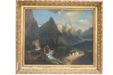 Almhütte im Gebirge, wohl Schweiz, 19.Jh. - Ölgemälde