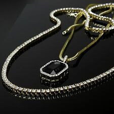 "14k Gold Clear Cz 1 Row Tennis Chain 30"" & Simulated Black Ruby w 3mm 24"" Franco"