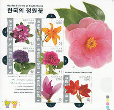 Guyana 2014 MNH Garden Flowers of South Korea 6v MS Camellia Magnolia Philakorea