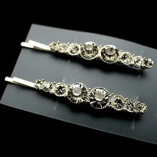 Lot of 2 Silver Jeweled Crystal Rhinestone Hair Clips Wedding Bobby Pins Slides