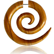 "PAIR FAKE CHEATER PLUGS 2G HEADS TEAK WOOD SUPER SPIRALS PLUG 1"" 1/2 INCH LONG"