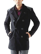 GUESS Men's Double Breasted Wool Blend Pea Coat $200 top over