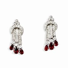 Jackie Kennedy Silver-Tone Swaro Elements Red and White Raindrop Earrings