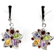 ELEGANT NATURAL AMETHYST,GARNET,PERIDOT,CITRINE,IOLITE 925 SILVER DANGLE EARRING
