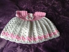 A new hand crochet baby girl dress pink & white 3 - 6 months