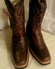 Men's cowboy western boots Genuine Cowhide Leather square toe rodeo brown 7