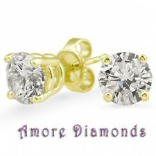 1.2 caret F VS2 round ideal cut diamond solitaire stud earrings 18k yellow gold