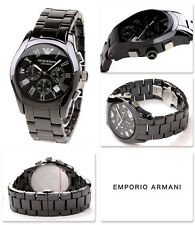 Emporio Armani Men Watch Wristwatch Black Ceramic Chronograph AR1400 Genuine