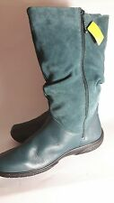 HOTTER 'MYSTERY' TEAL LEATHER SUEADE ZIP UP MID CALF BOOTS SIZE 9 STD BNWT.