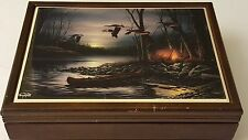 """Terry Redlin Vintage """"Evening Glow"""" Tile on Cherry Wood Trinket Collectible Box"""