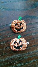 Jack-O-Lantern Hair Clips - Halloween Decoration - Sparkly Glitter Pumpkins