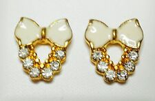 White Bow Enamel Effect Stud Earrings Gold Tone 10 x 15mm
